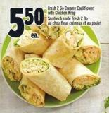Fresh 2 Go Creamy Cauliflower With Chicken Wrap