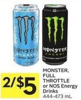 Monster - Full Throttle or Nos Energy Drinks 444 - 473 mL