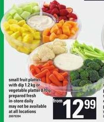 Small Fruit Platter With Dip - 1.2 Kg Or Vegetable Platter - 870 G
