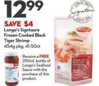 Longo's Signtaure  Frozen Cooked Black Tiger Shrimp 454g Pkg - 41-50ct