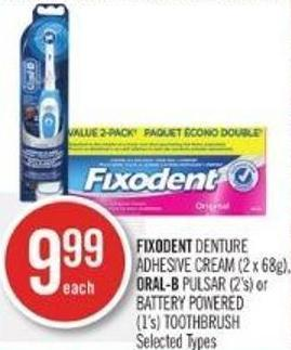Fixodent Denture Adhesive Cream (2 X 68g) - Oral-b Pulsar (2's) or Battery Powered (1's) Toothbrush