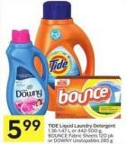 Tide Liquid Laundry Detergent 1.36-1.47 L or 442-500 g - Bounce Fabric Sheets 120 Pk or Downy Unstopables 285 g