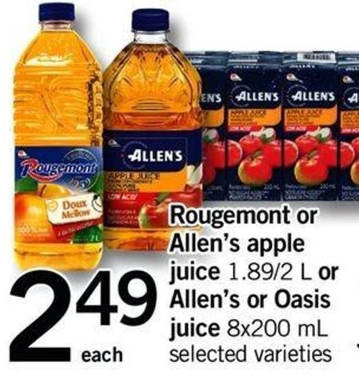 Rougemont Or Allen's Apple Juice - 1.89/2 L Or Allen's Or Oasis Juice - 8x200 Ml