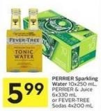 Perrier Sparkling Water 10x250 mL - Perrier & Juice 6x330 mL or Fever-tree Sodas 4x200 mL