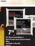 PC Black Label White Or Red Leicester Hard Ripened Cheese - 250 g
