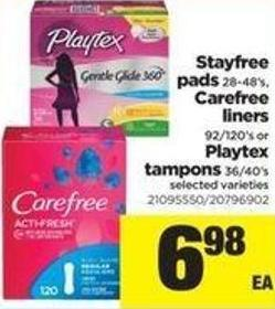 Stayfree Pads 28-48's - Carefree Liners 92-120's Or Playtex Tampons 36/40's