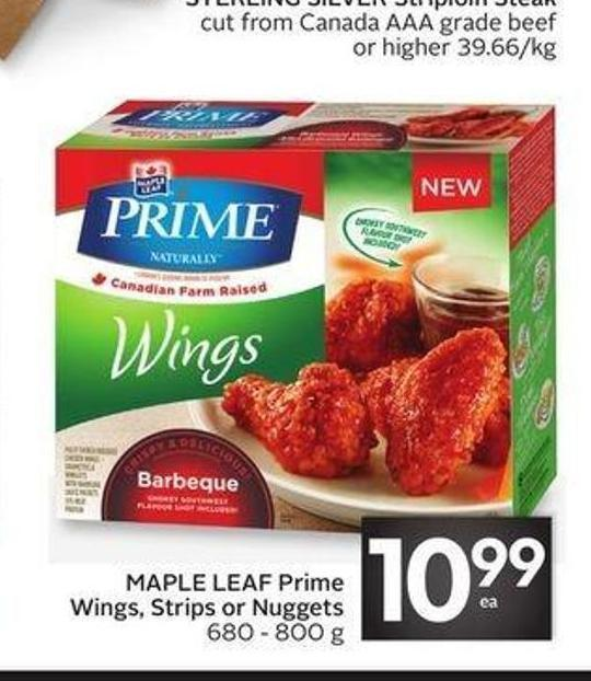 Maple Leaf Prime Wings - Strips or Nuggets