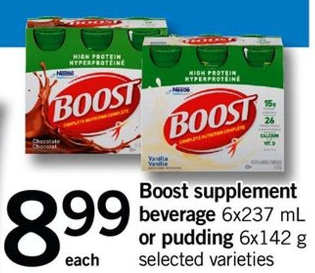 Boost Supplement Beverage 6x237 Ml Or Pudding 6x142 G