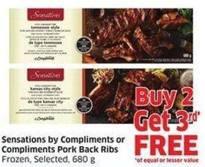 Sensations By Compliments or Compliments Pork Back Ribs Frozen - Selected - 680 g