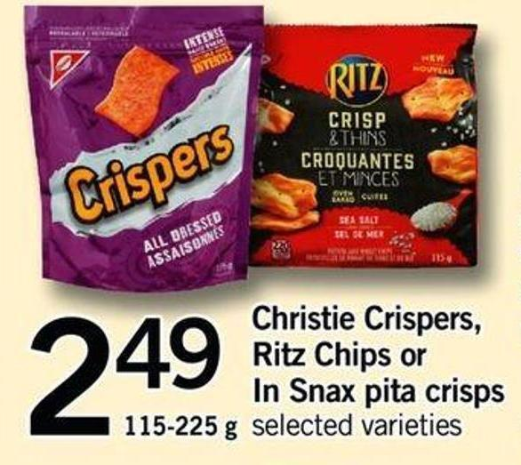 Christie Crispers - Ritz Chips Or In Snax Pita Crisps - 115-225 Gxchristie Crispers - Ritz Chips Or In Snax Pita Crisps - 115-225 g