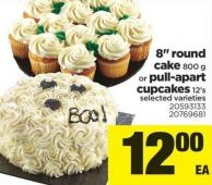 8in Round Cake - 800 g Or Pull-apart Cupcakes - 12's