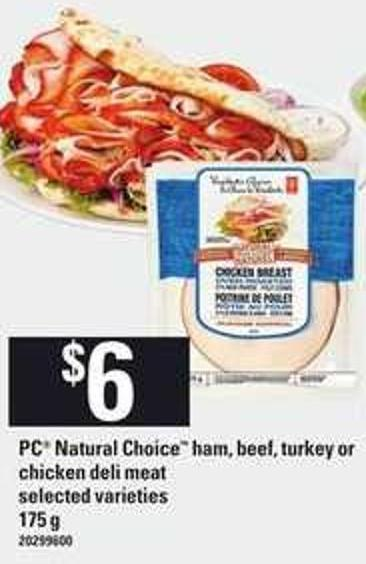 PC Natural Choice Ham - Beef - Turkey Or Chicken Deli Meat - 175 G