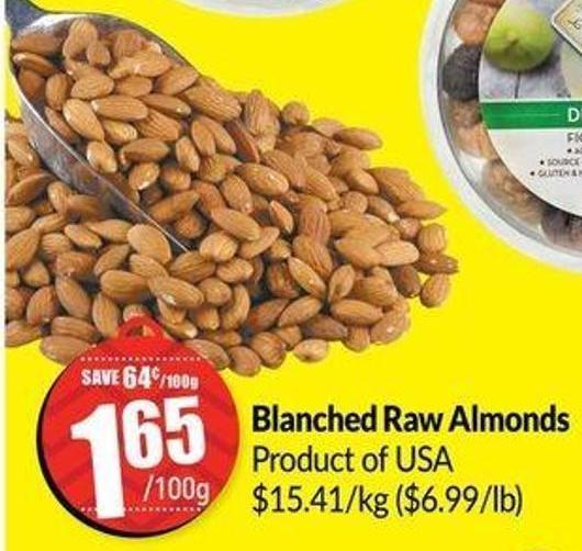 Blanched Raw Almonds $15.41/kg ($6.99/lb)