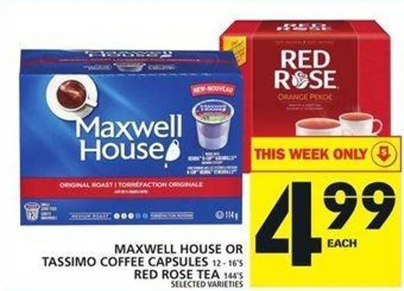 Maxwell House Or Tassimo Coffee Capsules Or Red Rose Tea