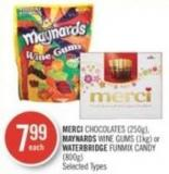 Merci Chocolates (250g) - Maynards Wine Gums (1kg) or Waterbridge Funmix Candy (800g)