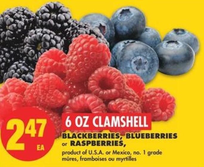 Blackberries - Blueberries or Raspberries - 6 Oz Clamshell