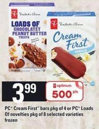 PC Cream First Bars Pkg Of 4 Or PC Loads Of Novelties Pkg Of 8
