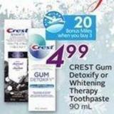 Crest Gum Detoxify or Whitening Therapy Toothpaste 90 mL - 20 Air Miles Bonus Miles
