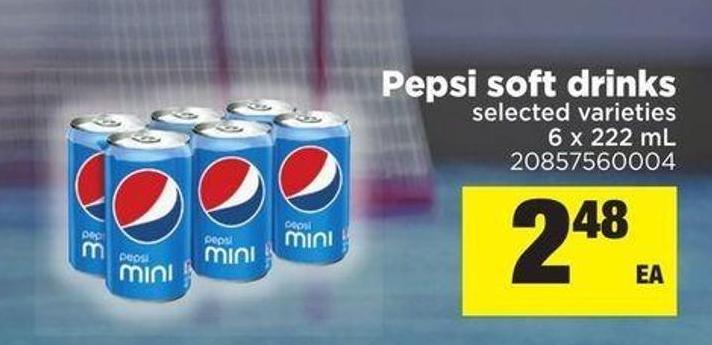 Pepsi Soft Drinks - 6 X 222 mL
