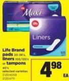 Life Brand Pads 20-36's - Liners 105/135's Or Tampons 40's