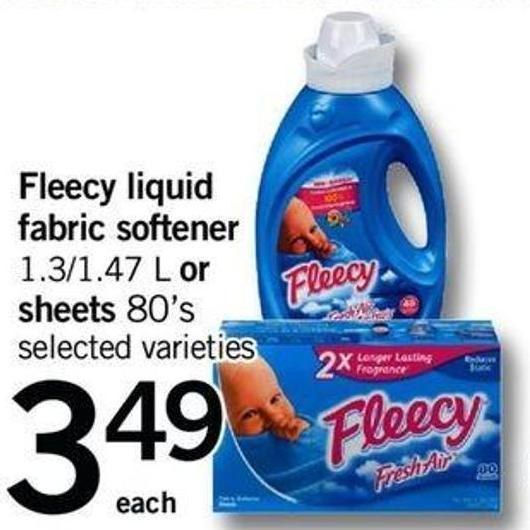 Fleecy Liquid Fabric Softener 1.3/1.47 L Or Sheets 80's
