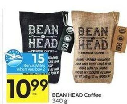Bean Head Coffee - 15 Air Miles Bonus Miles