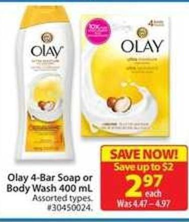 Olay 4-bar Soap or Body Wash 400 mL