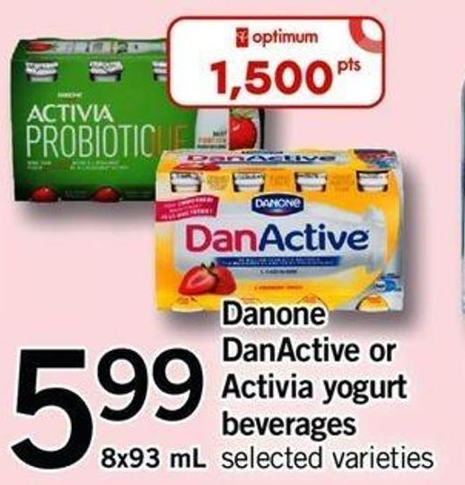 Danone Danactive Or Activia Yogurt Beverages - 8x93 Ml
