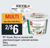 PC Greek - Skyr Or Coconut Milk Plant Based Yogurt - 500 g