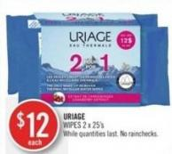 Uriage Wipes 2 X 25's