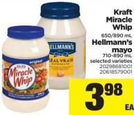 Kraft Miracle Whip - 650/890 mL - Hellmann's Mayo - 710-890 mL