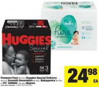 Pampers Pure 38-74's - Huggies Special Delivery 36-72's - Seventh Generation 60-93's - Babyganics 50-78's Or PC Green 60-90's Diapers
