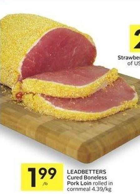 Leadbetters Cured Boneless Pork Loin Rolled In Cornmeal 4.39/kg
