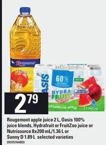 Rougemont Apple Juice - 2 L - Oasis 100% Juice Blends - Hydrafruit Or Fruitzoo Juice Or Nutrisource - 8x200 Ml/1.36 L Or Sunny D - 1.89 L