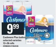 Cashmere Plus Bathroom Tissue 12's - 12=36 Rolls