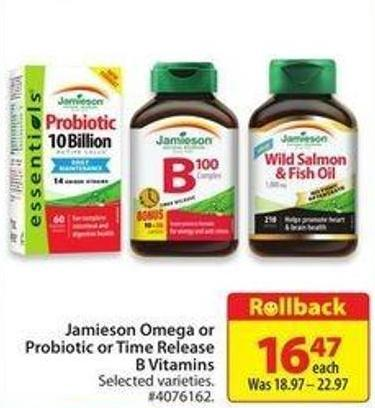 Jamieson Omega or Probiotic or Time Release B Vitamins