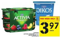Danone Activia Yogourt Or Oikos Greek