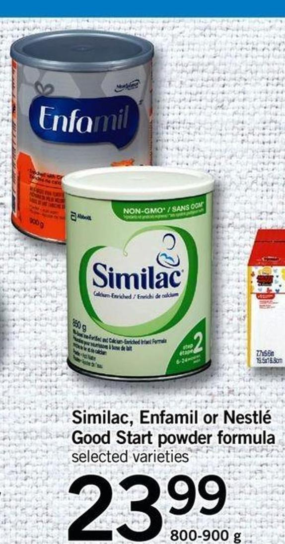 Similac - Enfamil Or Nestlé Good Start Powder Formula - 800-900 G
