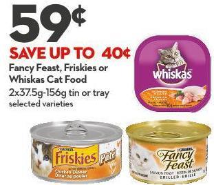 Fancy Feast - Friskies or  Whiskas Cat Food 2x37.5g-156g Tin or Tray
