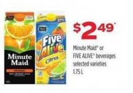 Minute Maid Or Five Alive Beverages - 1.75 L