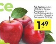 Fuji Apples Product of Ontario Canada Fancy Grade or Red Delicious Apples Product of USA Extra Fancy Grade