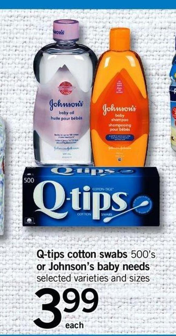Q-tips Cotton Swabs 500's Or Johnson's Baby Needs