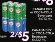 Canada Dry or Coca-cola Beverages 6x222 mL - 20 Air Miles