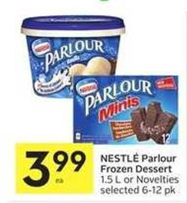 Nestlé Parlour Frozen Dessert 1.5 L or Novelties Selected 6-12 Pk