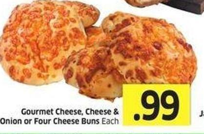Gourmet Cheese - Cheese & Onion or Four Cheese Buns Each