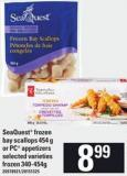Seaquest Frozen Bay Scallops - 454 G Or PC Appetizers - 340-454 G