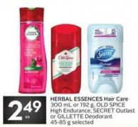 Herbal Essences Hair Care 300 mL or 192 g - Old Spice High Endurance - Secret Outlast or Gillette Deodorant 45-85 g Selected