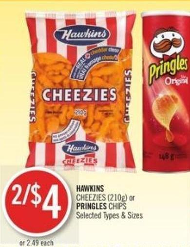 Hawkins Cheezies or Pringles Chips