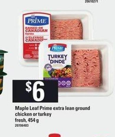 Maple Leaf Prime Extra Lean Ground Chicken Or Turkey - 454 g