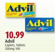 Advil Caplets - Tablets 200mg 100